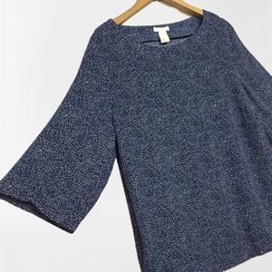 H&M Blue 3/4 Sleeve Pullover Blouse Viscose Top